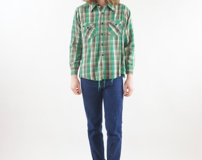 Super Soft Frayed Flannel Plaid Green, Yellow, White and Brown Unisex Grunge Button Up Shirt Vintage Size Medium