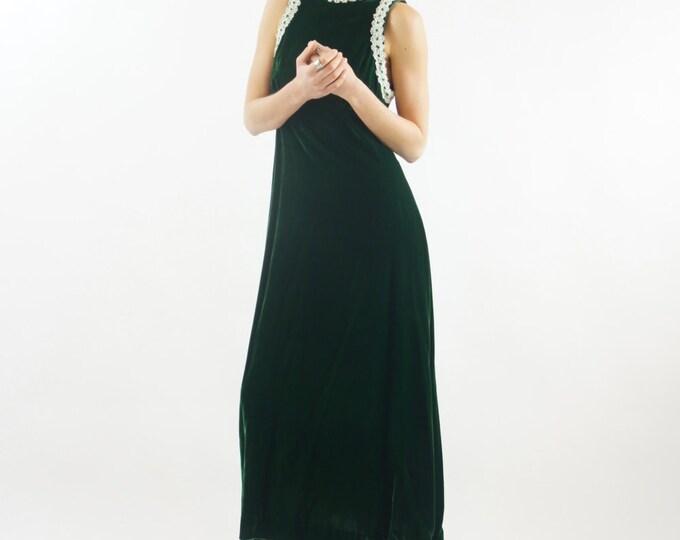 Floor Length Long Velvet Green Dress Delicate Lace Empire Waist Handmade Small White Trim Vintage
