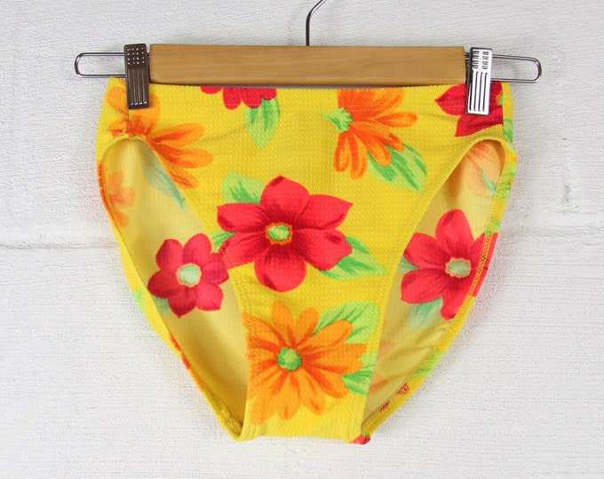 High Waisted Bright Neon Floral Swim Suit Bikini Bottoms Size Small