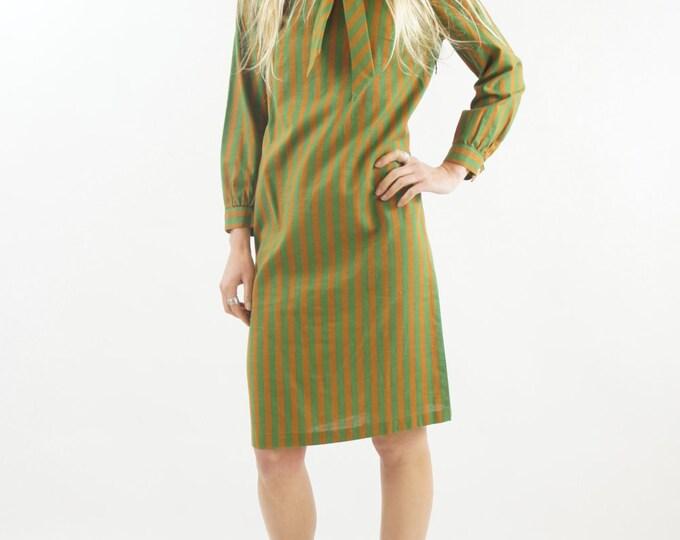 1950s Olive Green Mod Striped Long Sleeved Secretary Union Made Dress Vintage Size Small / Medium