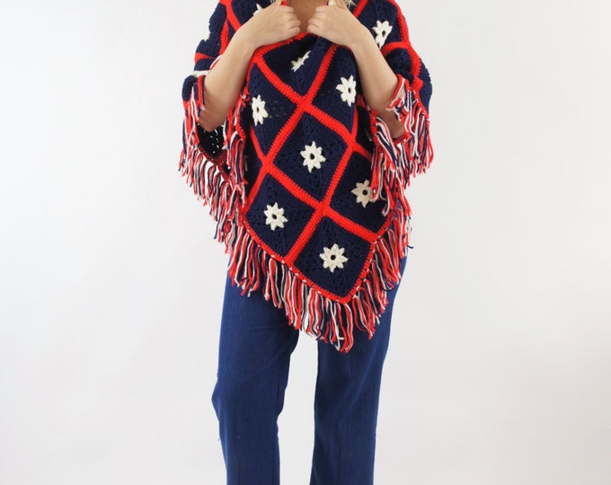 70's Crocheted Poncho Red White Navy Blue Knit Sweater / Cape Shawl America Vintage One Size