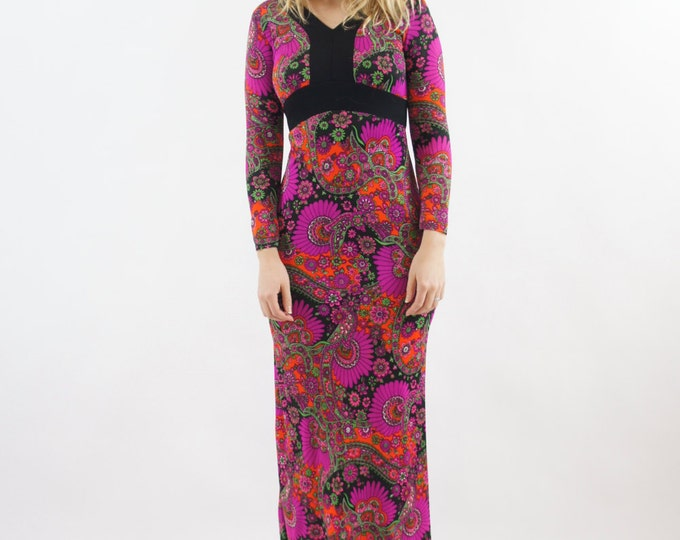 Psychedelic Colorful 70s Dress Paisley Long Sleeve Floral Maxi Dress Neon Colorful Small Medium Floor Length Gown