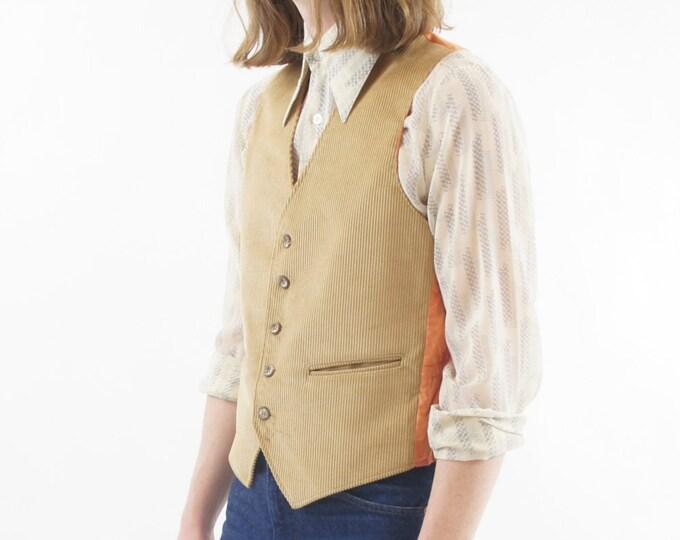 Tan / Khaki Men's Corduroy Vintage Vest Size Small / Medium