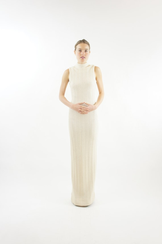 Women's Floor Length Long Sleeveless Knit Maxi Dress Formal Gown Vintage Size Small
