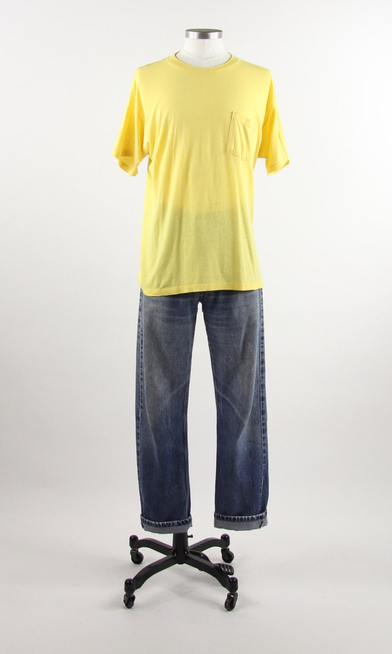8512ada625870 Yellow Pocket Tee Distressed Paper Thin Pocket T-shirt Vintage Size  Medium/Large