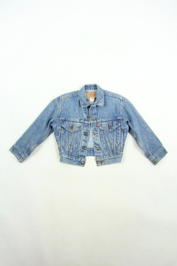 Kid's Levi's Jean Trucker Jacket Denim Tag Size Small 100% Cotton Made in USA