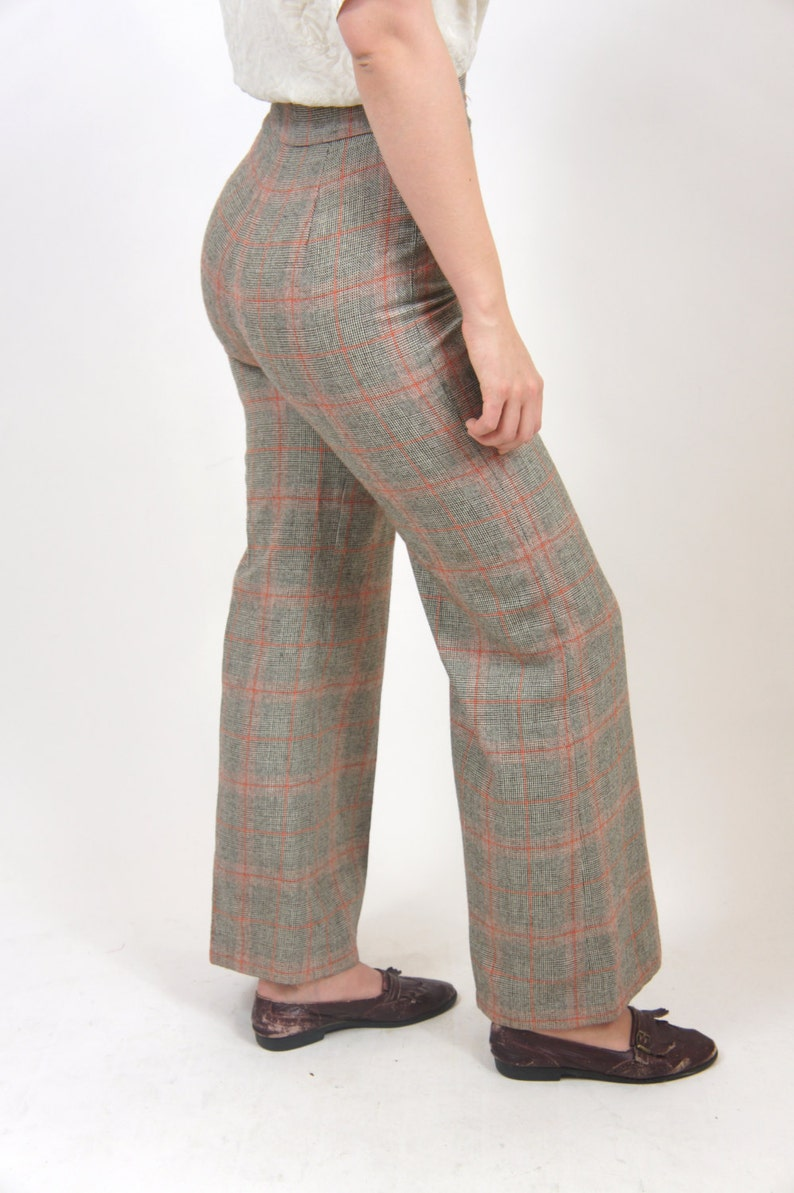 3da09201b High Waisted Plaid Pants Brown and Orange Women's 4 Button | Etsy