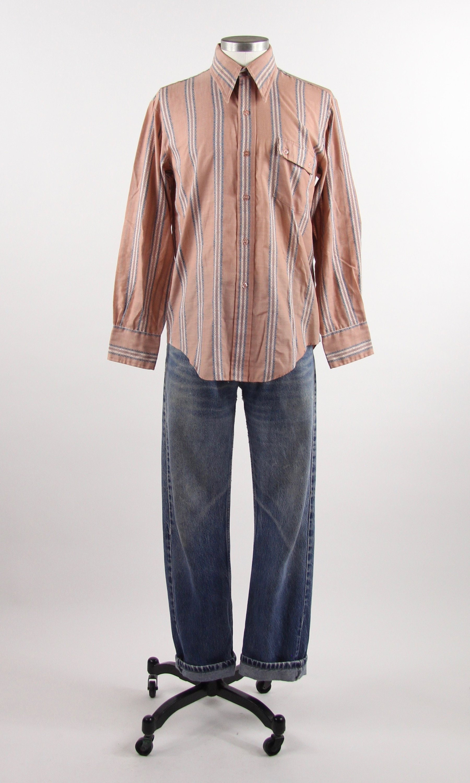 fd382cb5 70's Striped Shirt Vintage Men's Peach Pink Button Down Dress Shirt ...