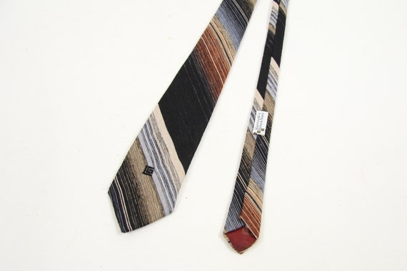 Earthtone Striped Navy and Brown Vintage Tie Made in Paris