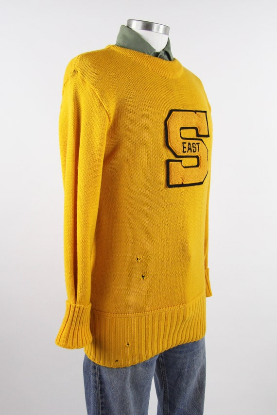 1950's Varsity Sweater Yellow Letterman Pullover … - image 8
