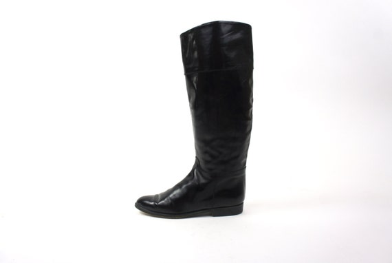 Black Knee High Leather Boots Size 7 Vintage Women's Riding Fashion Boots Made in Italy