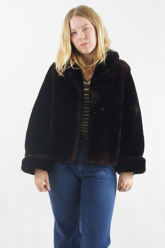 Women's Dark Brown Vintage Faux Fur Soft Warm Winter Coat Jacket Size Medium