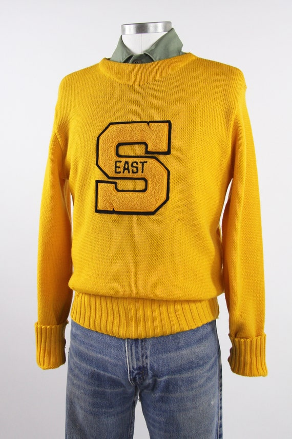 1950's Varsity Sweater Yellow Letterman Pullover … - image 3