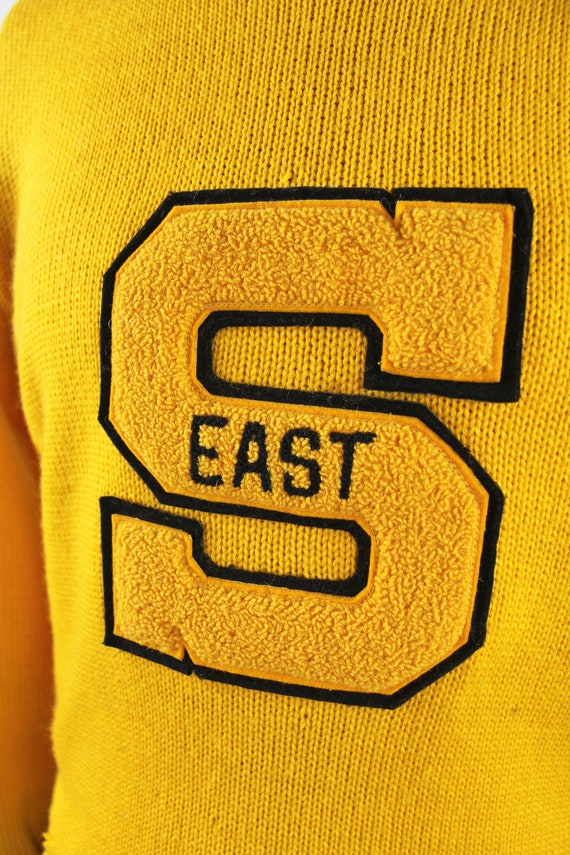 1950's Varsity Sweater Yellow Letterman Pullover … - image 5