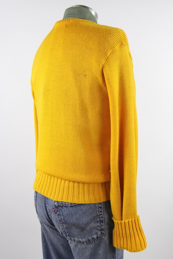 1950's Varsity Sweater Yellow Letterman Pullover … - image 7