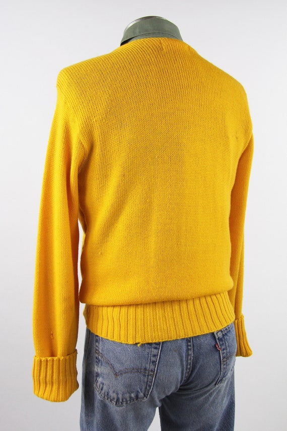 1950's Varsity Sweater Yellow Letterman Pullover … - image 6