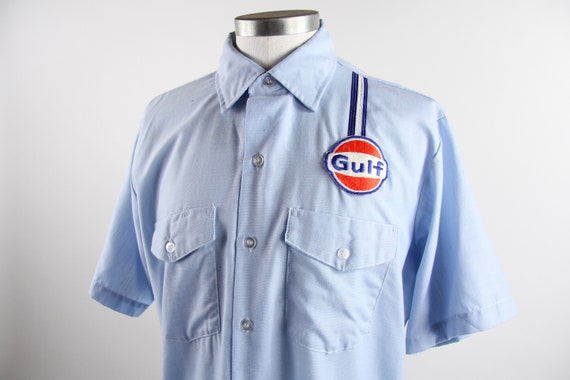 Gulf Gas Station Attendant Shirt Men's Short Sleeve Button Union Made USA Size Large