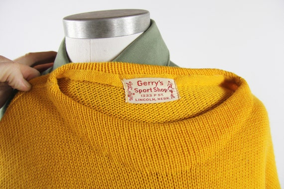1950's Varsity Sweater Yellow Letterman Pullover … - image 9
