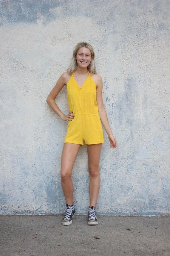 Yellow Terrycloth Roper Women's Halter Playsuit On