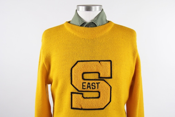 1950's Varsity Sweater Yellow Letterman Pullover … - image 4