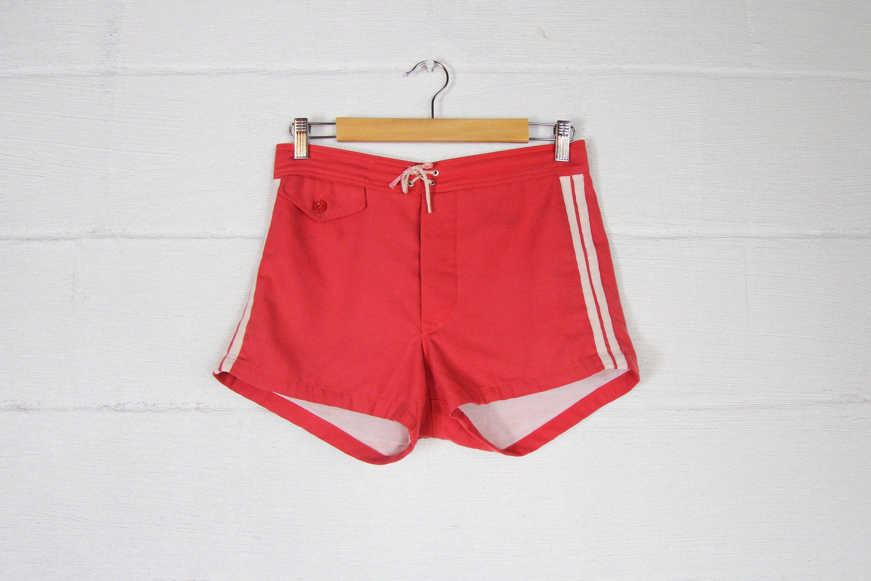 d055538de8549 Men's 60's Red Soft Swim Trunks Surf Board Shorts with White Stipes ...