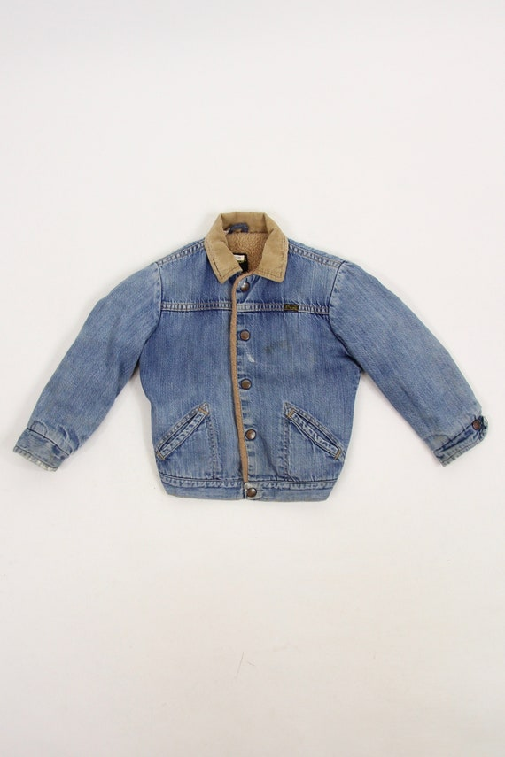 Kid's Wrangler Denim Jean Trucker Jacket Faux Sherpa Lined with Corduroy Collar Size 8
