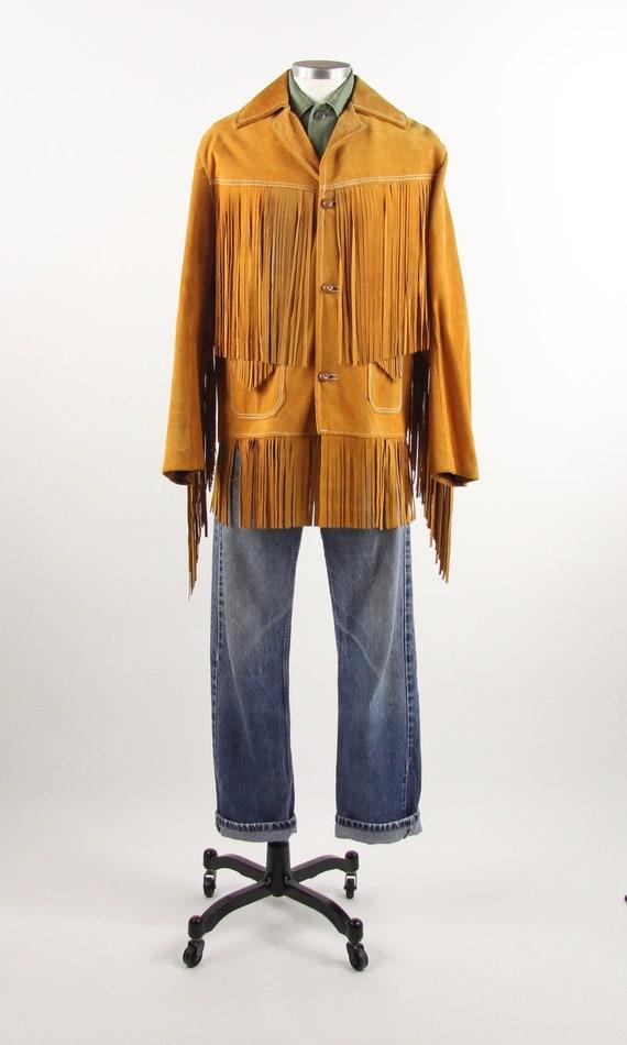 Fringe Leather Jacket 70's Orange Brown Suede Leat