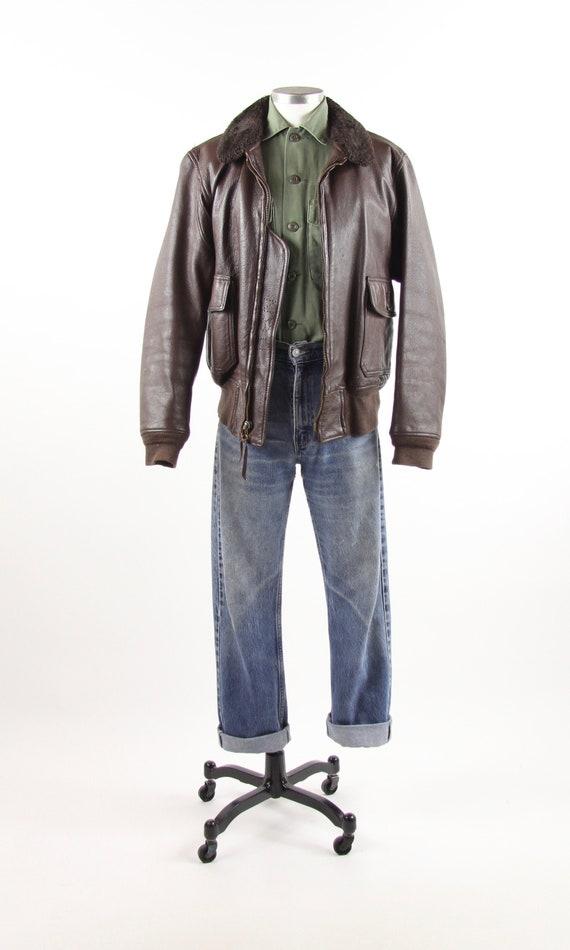 Brown Bomber Jacket Men's USN Leather Jacket Vinta