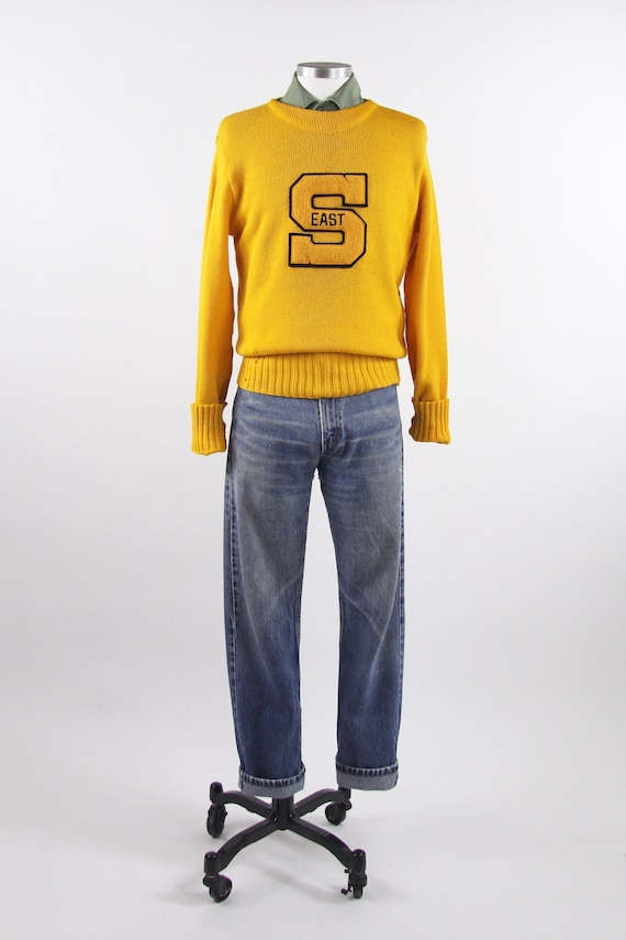 1950's Varsity Sweater Yellow Letterman Pullover … - image 1