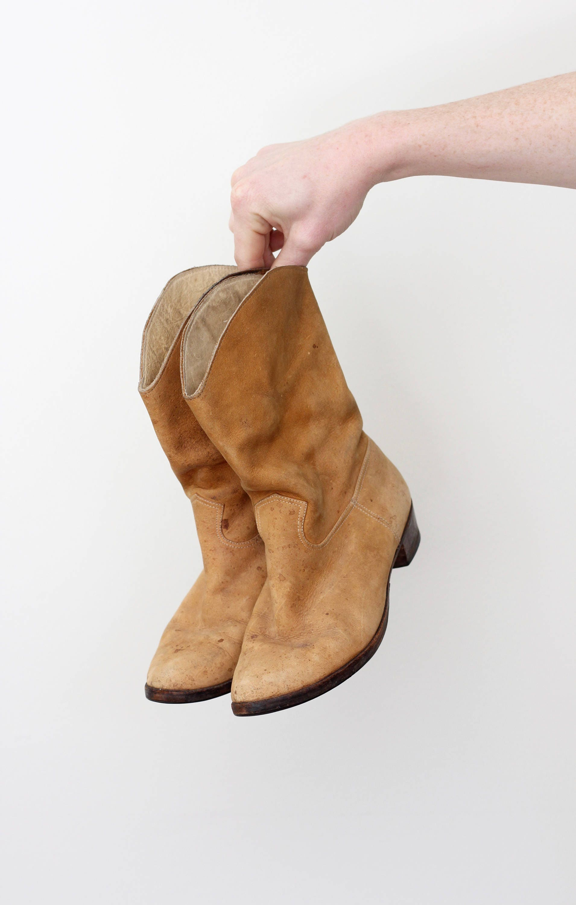 347873b9df7 Women's Suede Cowboy Boots Size 6 Leather Camel Light Brown ...