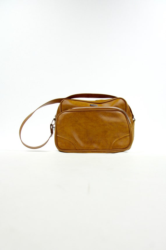 70's Brown Travel Bag Vintage Tote Carry On Luggage Shoulder Bag
