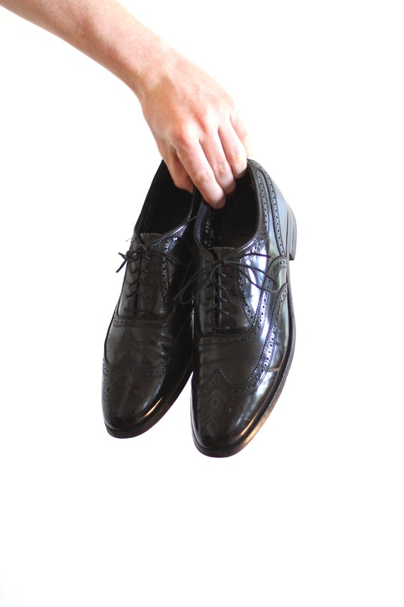 Men's Black Wingtip Florsheim Shoes Size 9 Vintage Oxford Dress Shoes Black Leather