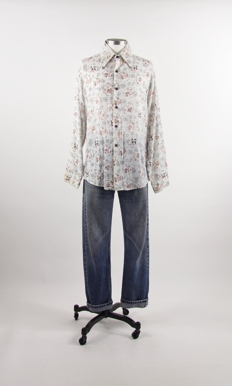00886777d91 70 s Walt Disney Mickey Mouse Shirt Button Down Dress Shirt Vintage ...