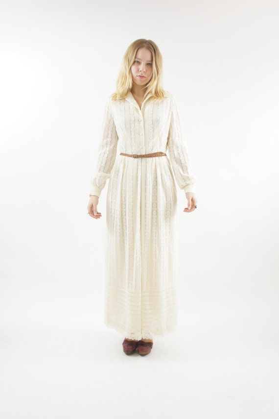 Floor Length White Cream Lace Maxi Button Up Prairie Long Sleeve Dress Vintage Size Medium