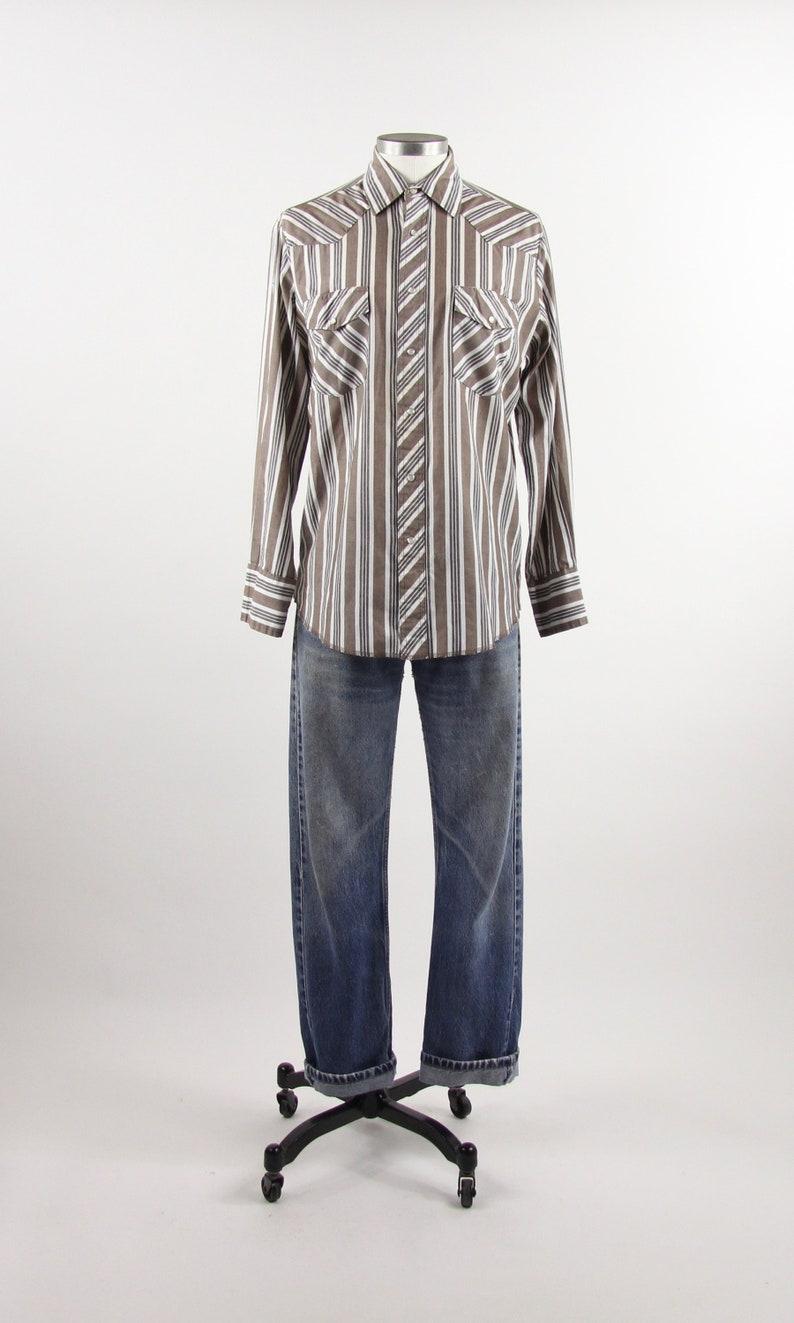 d06f256da5 Wrangler Western Shirt Striped Brown Button Down Shirt Snap | Etsy