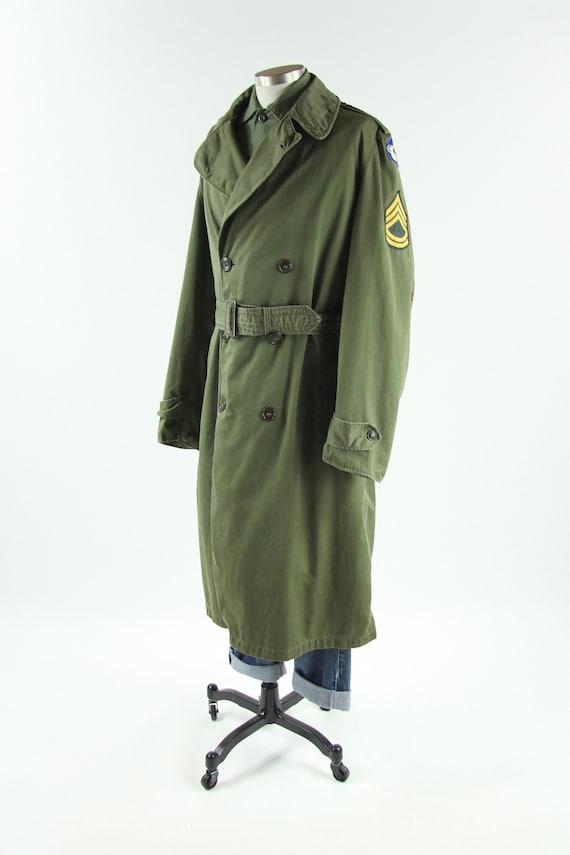 Men's Military Trench Coat Olive Green Winter Coat