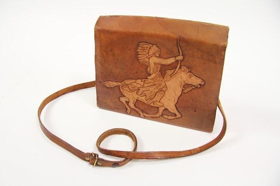 70's Brown Leather Floral / Eagle / Native American Horse Purse Shoulder Bag