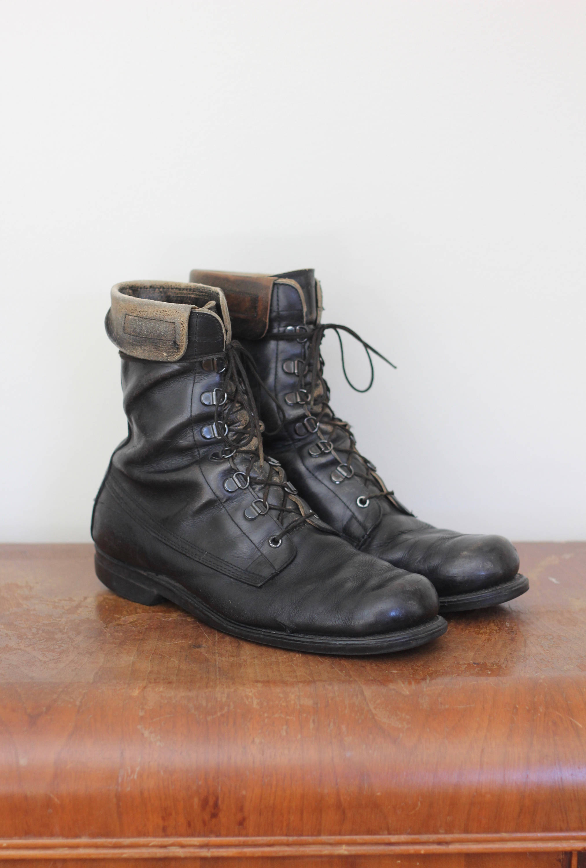 eede0ed136f6 70 s Black Leather Lace Up Boots Size 9 Combat Military Work Boots ...