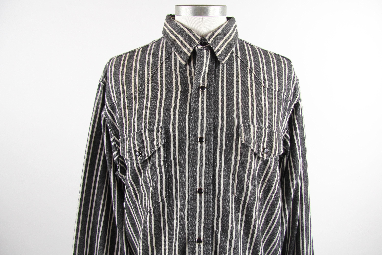 Western Wrangler Black and White Vertical Striped Shirt ...