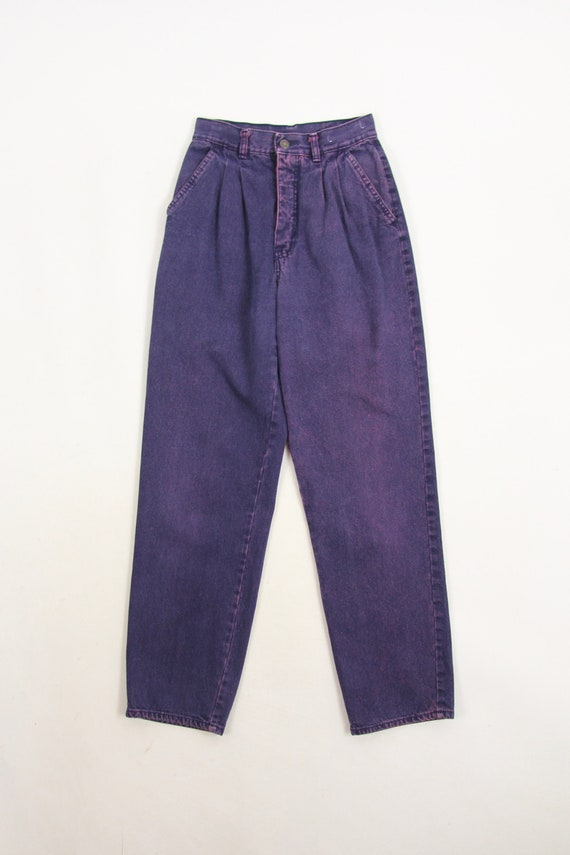 90's Purple Jeans Women's High Waisted Pleated Tap