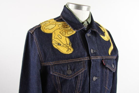 Yellow Bald Python Jean Jacket / Custom Chainstitch Embroidery / Levis Jean Tucker Jacket Men's Size Small