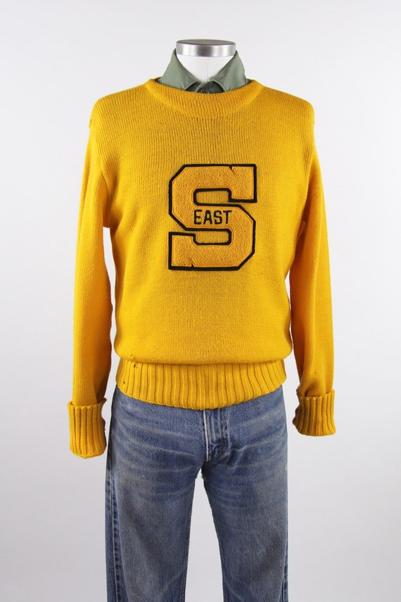 1950's Varsity Sweater Yellow Letterman Pullover … - image 2