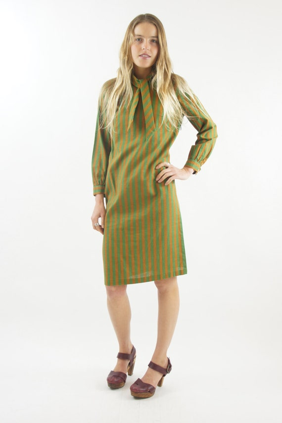 1950s Olive Green Mod Striped Long Sleeved Secretary Union Made Dress Vintage Size Small / Medium