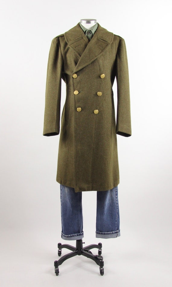 WWII Men's Military Coat Wool Gold Button Olive Gr