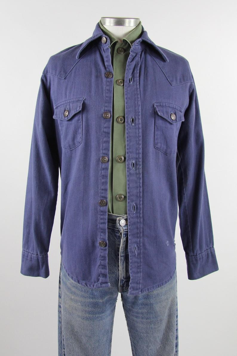 33fc501726 60 s Work Shirt Button Down Men s Vintage Cotton Denim