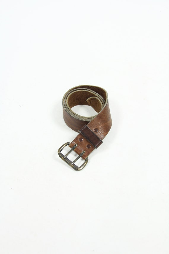 70's Brown Leather Belt Double Prong Men's Vintage Size 35 - 39