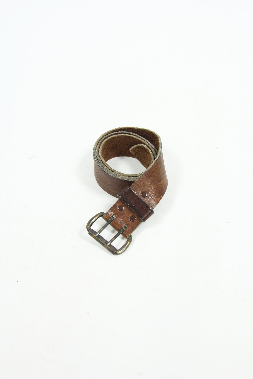 Vintage 70s Copper Double Buckle Leather Belt