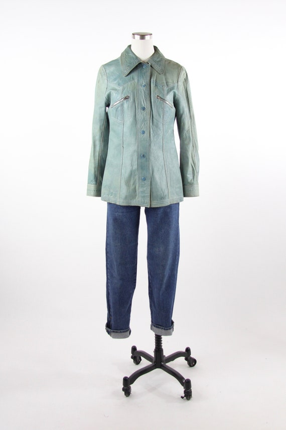 Reversible Teal Green Women's 70s Leather Shirt Ja