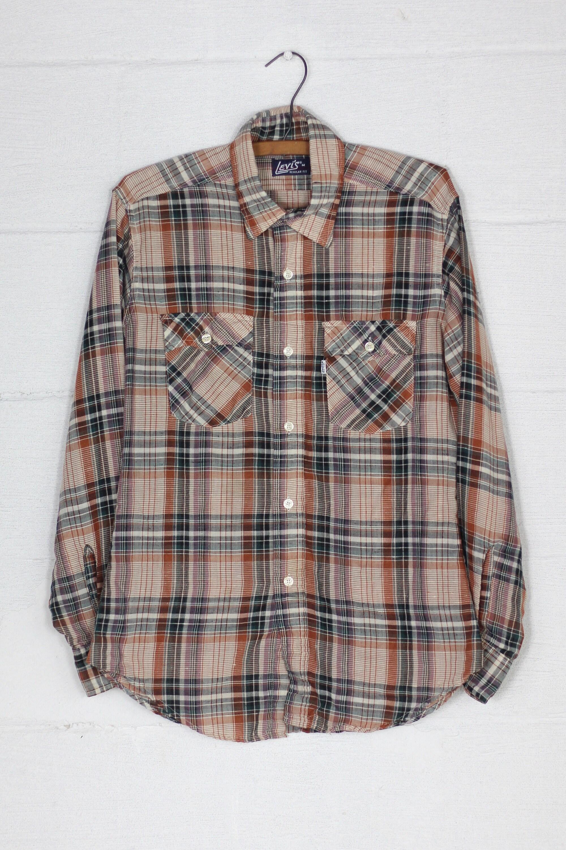 49896855fd084 Men's Levi's 70's Long Sleeve Shirt Plaid Button Down Vintage Size ...
