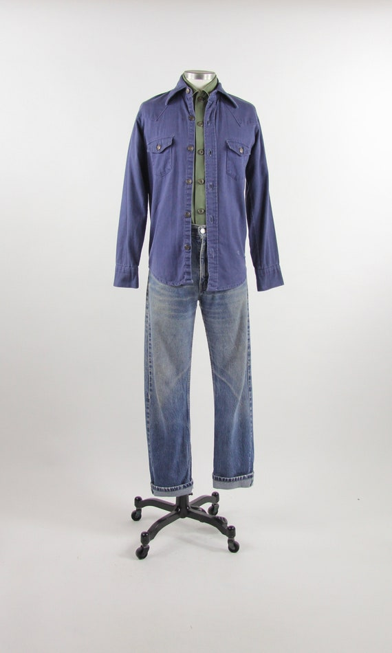 60's Work Shirt Button Down Men's Vintage Cotton D